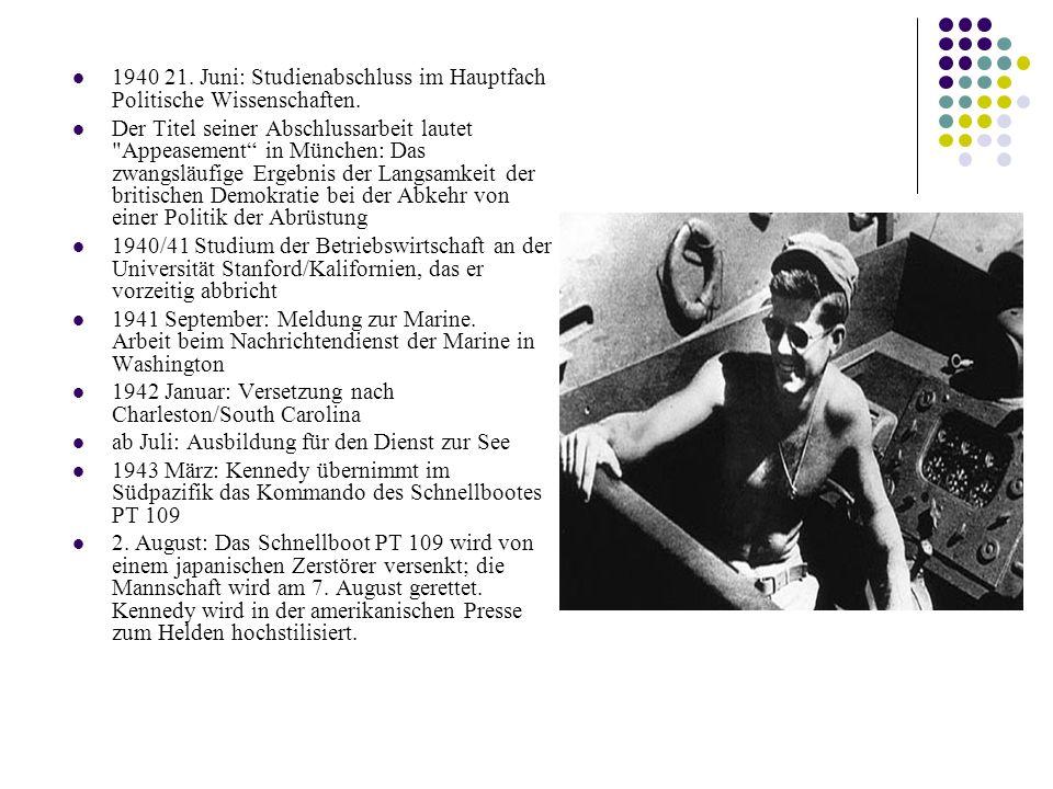 1940 21. Juni: Studienabschluss im Hauptfach Politische Wissenschaften.