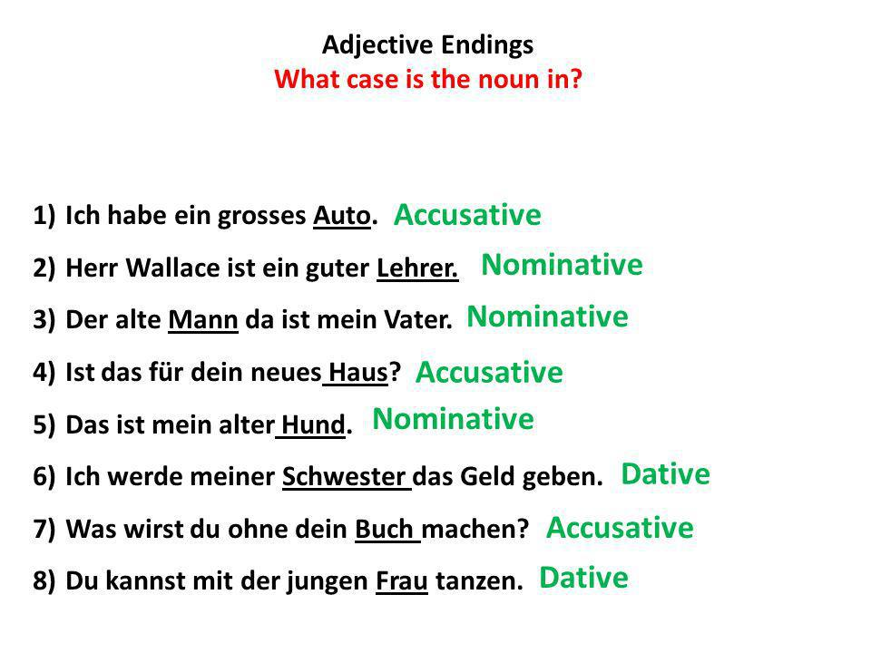 Accusative Nominative Nominative Accusative Nominative Dative