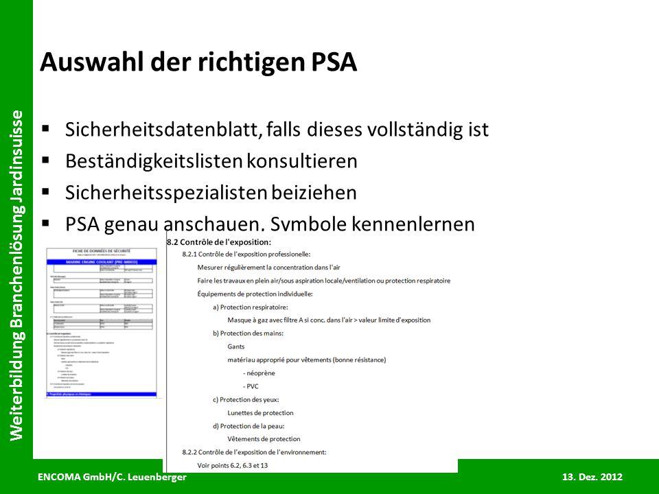 Auswahl der richtigen PSA