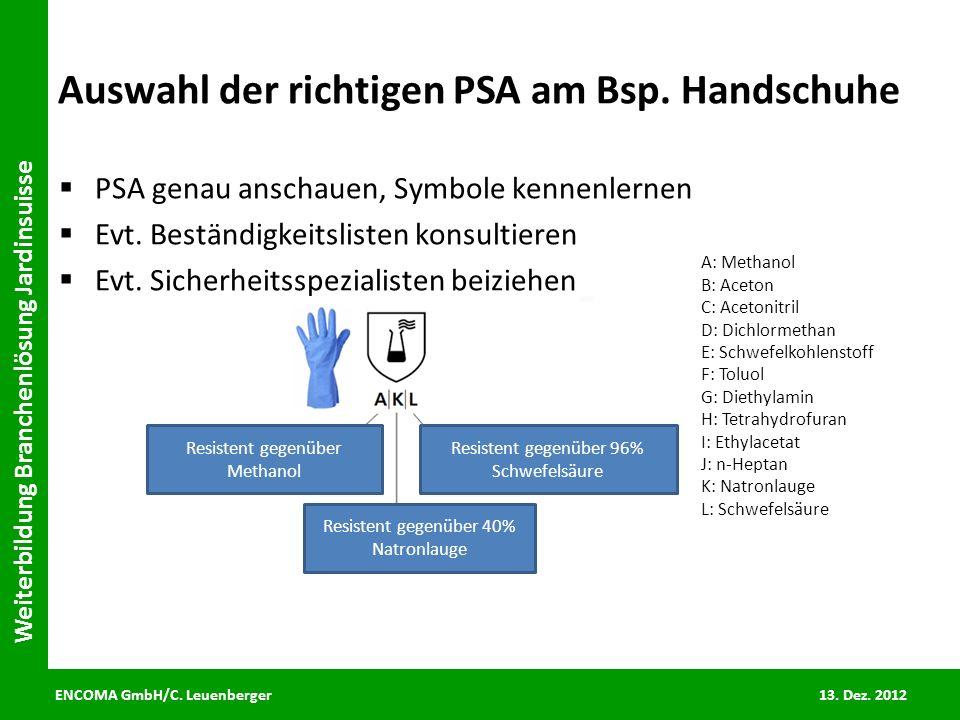 Auswahl der richtigen PSA am Bsp. Handschuhe
