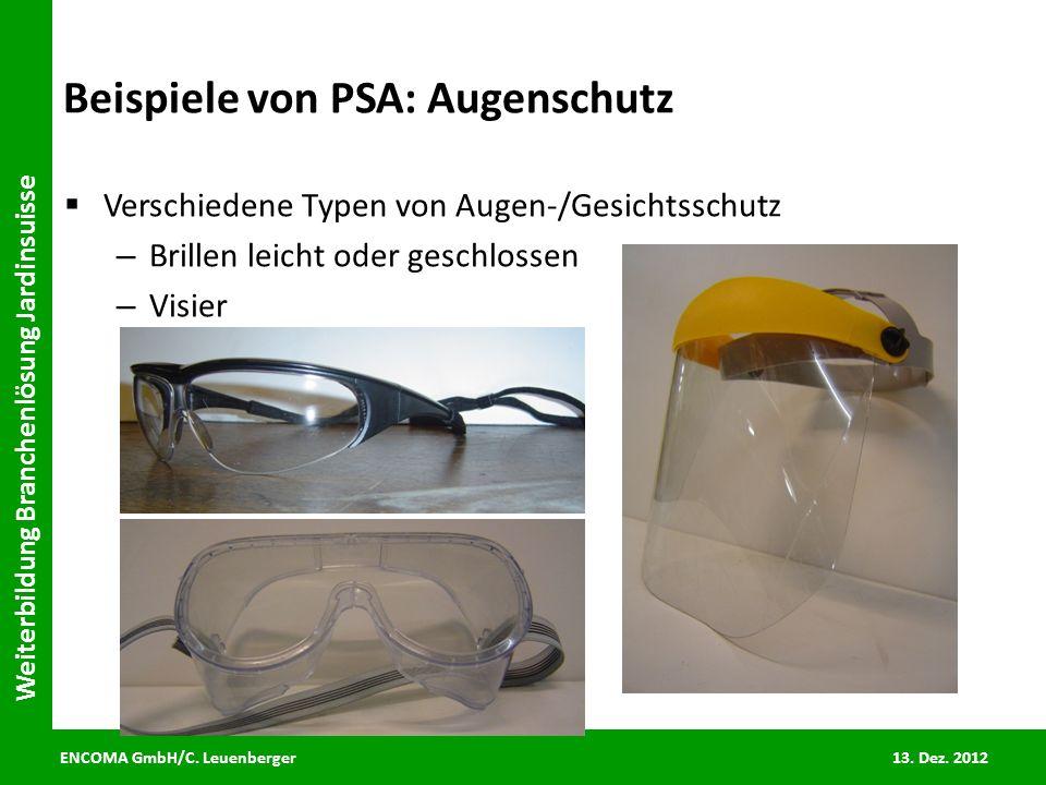 Beispiele von PSA: Augenschutz
