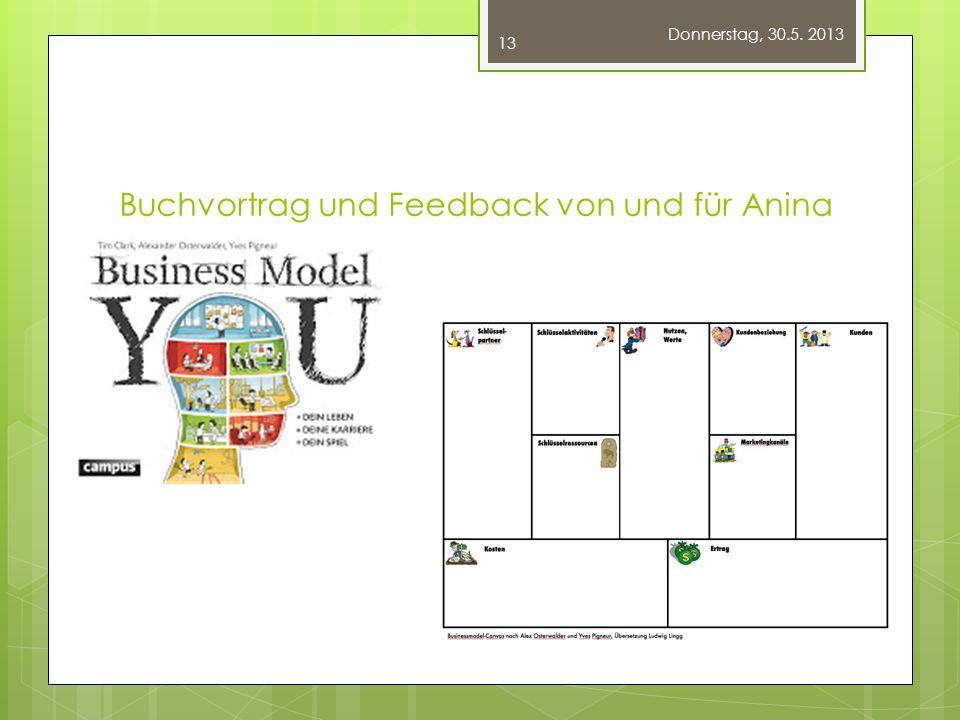 Buchvortrag und Feedback von und für Anina