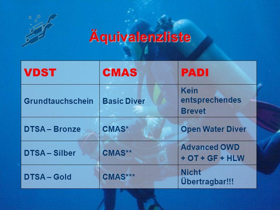 Äquivalenzliste VDST CMAS PADI Grundtauchschein Basic Diver