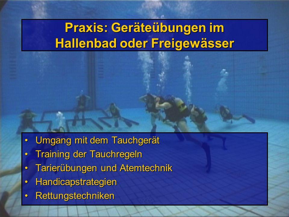 Praxis: Geräteübungen im Hallenbad oder Freigewässer