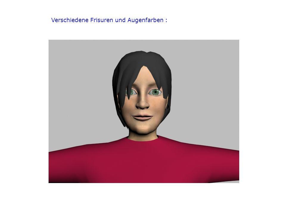 Verschiedene Frisuren und Augenfarben :