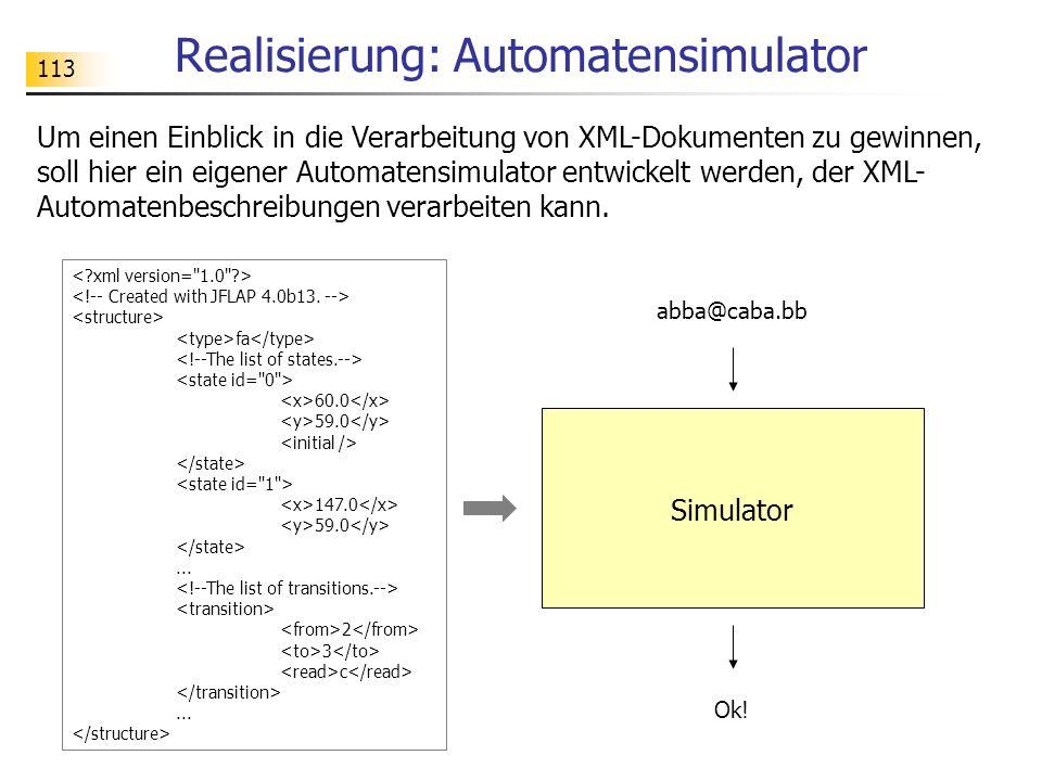 Realisierung: Automatensimulator