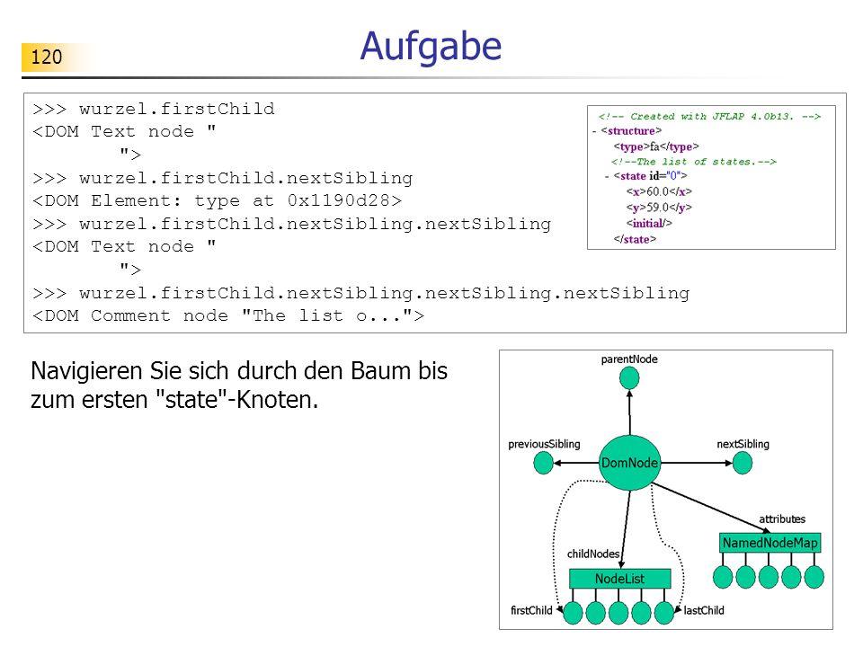 Aufgabe >>> wurzel.firstChild. <DOM Text node > >>> wurzel.firstChild.nextSibling. <DOM Element: type at 0x1190d28>