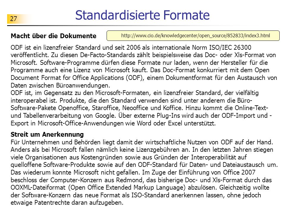 Standardisierte Formate