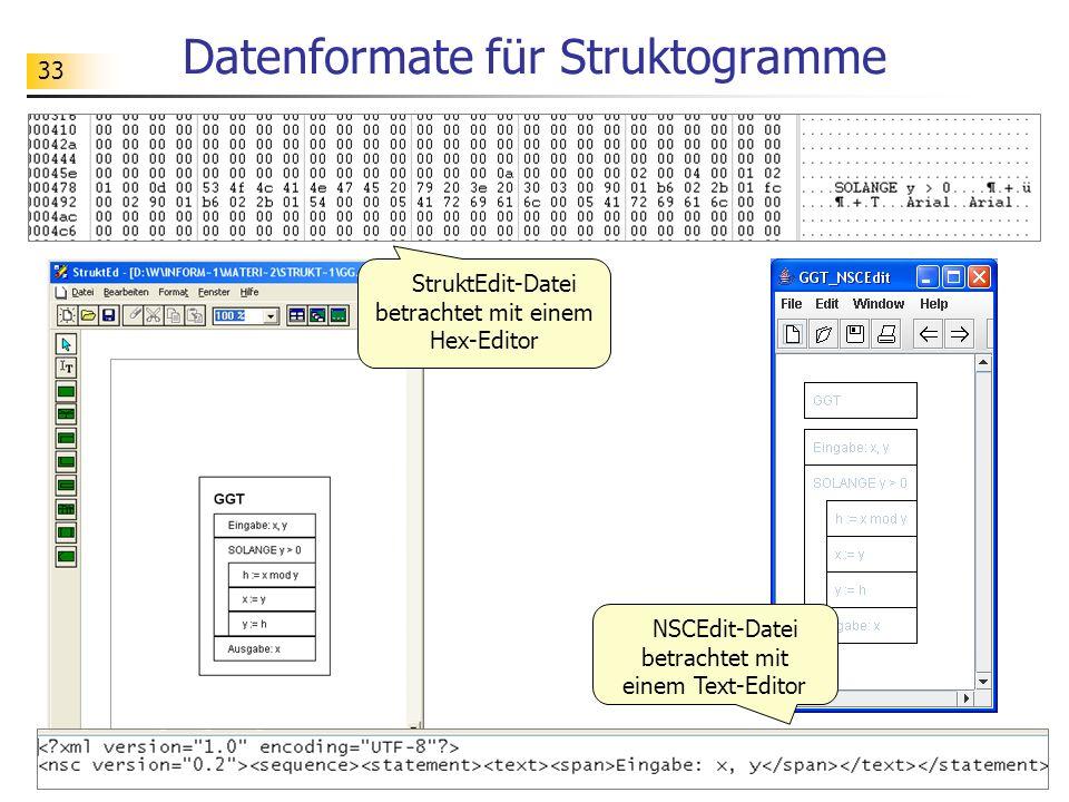 Datenformate für Struktogramme