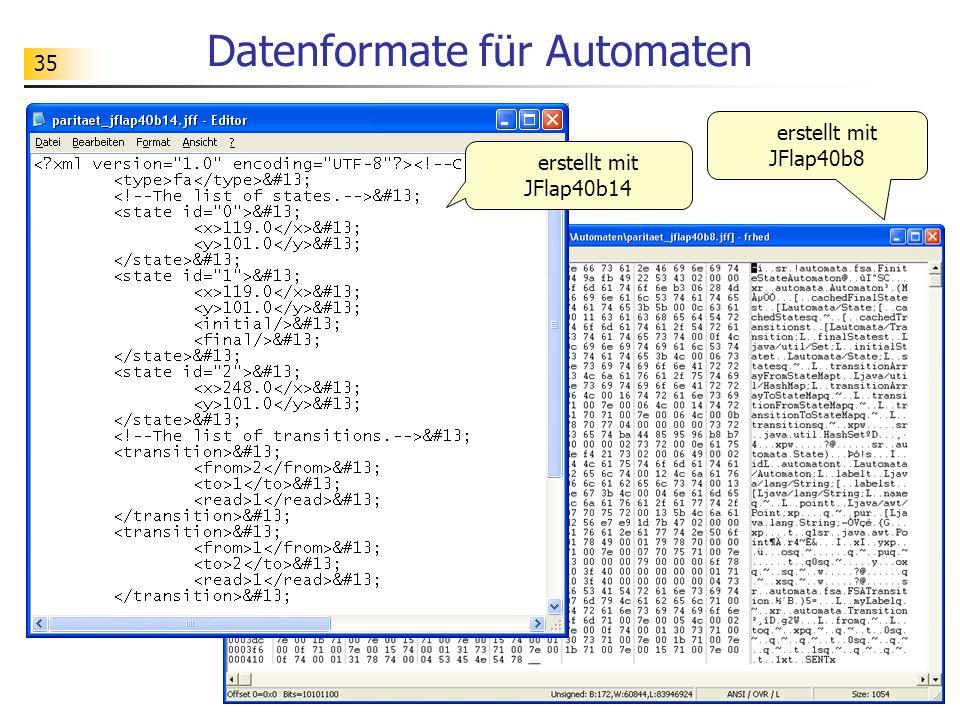 Datenformate für Automaten