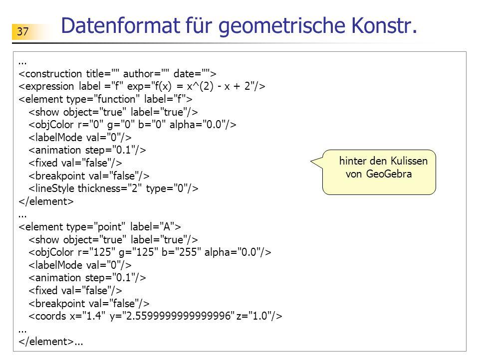 Datenformat für geometrische Konstr.