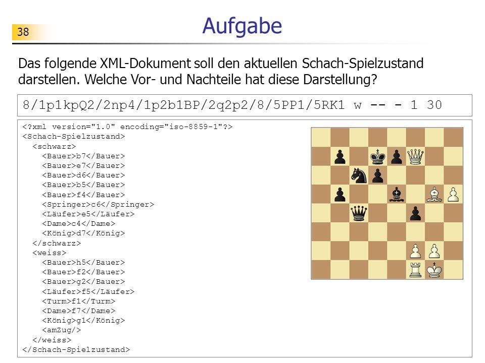 Aufgabe Das folgende XML-Dokument soll den aktuellen Schach-Spielzustand darstellen. Welche Vor- und Nachteile hat diese Darstellung