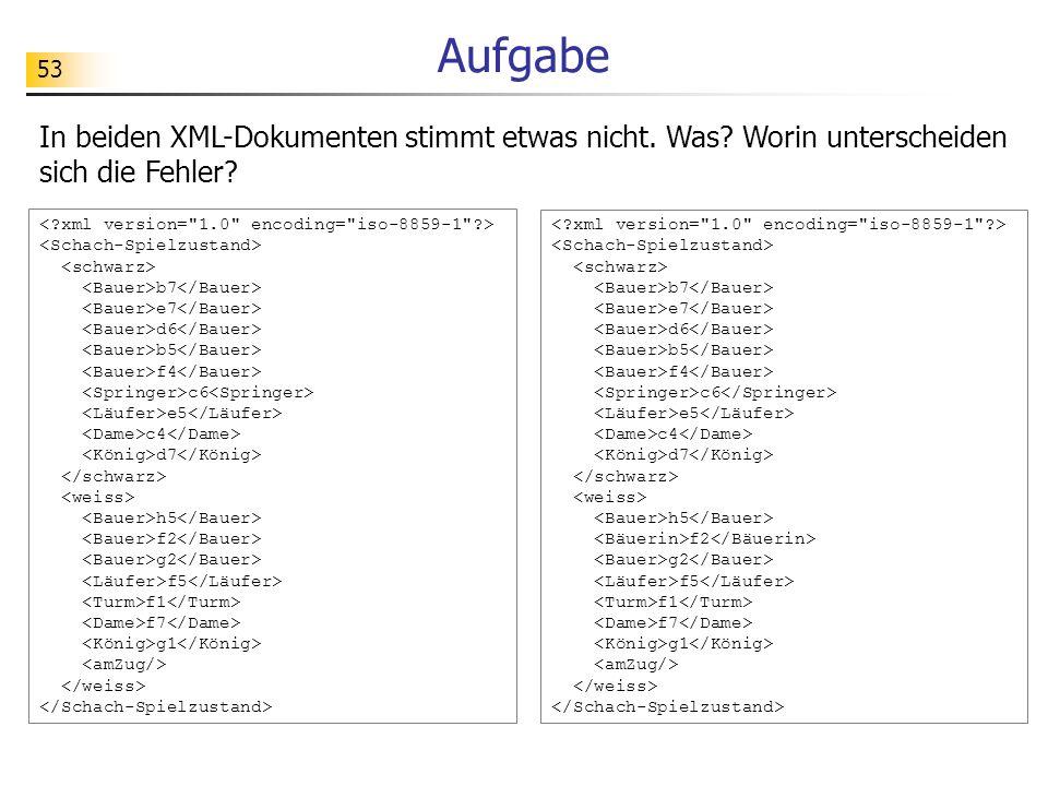 Aufgabe In beiden XML-Dokumenten stimmt etwas nicht. Was Worin unterscheiden sich die Fehler < xml version= 1.0 encoding= iso-8859-1 >