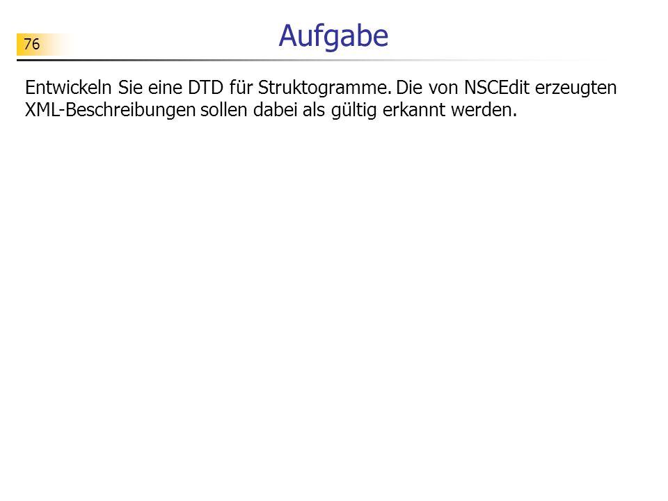 Aufgabe Entwickeln Sie eine DTD für Struktogramme.