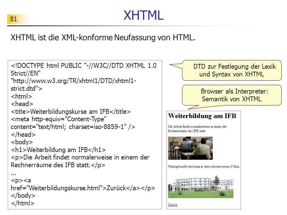 XHTML XHTML ist die XML-konforme Neufassung von HTML.