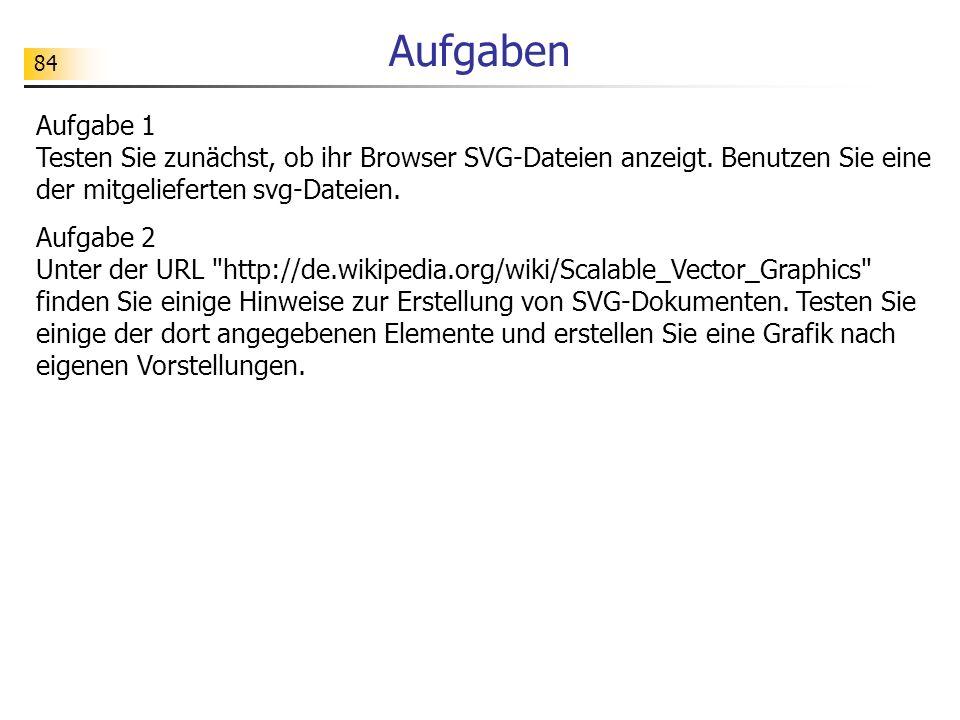 Aufgaben Aufgabe 1 Testen Sie zunächst, ob ihr Browser SVG-Dateien anzeigt. Benutzen Sie eine der mitgelieferten svg-Dateien.