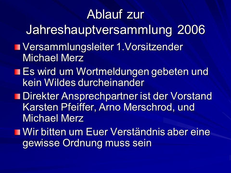 Ablauf zur Jahreshauptversammlung 2006