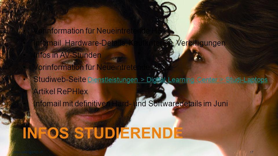 Infos Studierende Vorinformation für Neueintretende HS11