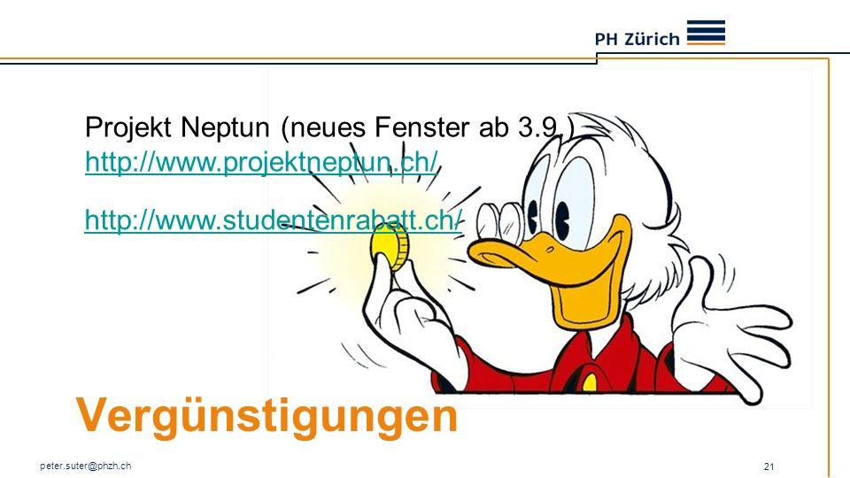 Vergünstigungen Projekt Neptun (neues Fenster ab 3.9.)