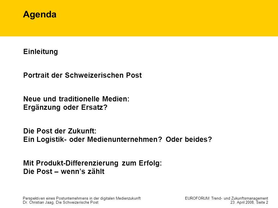 Agenda Einleitung Portrait der Schweizerischen Post