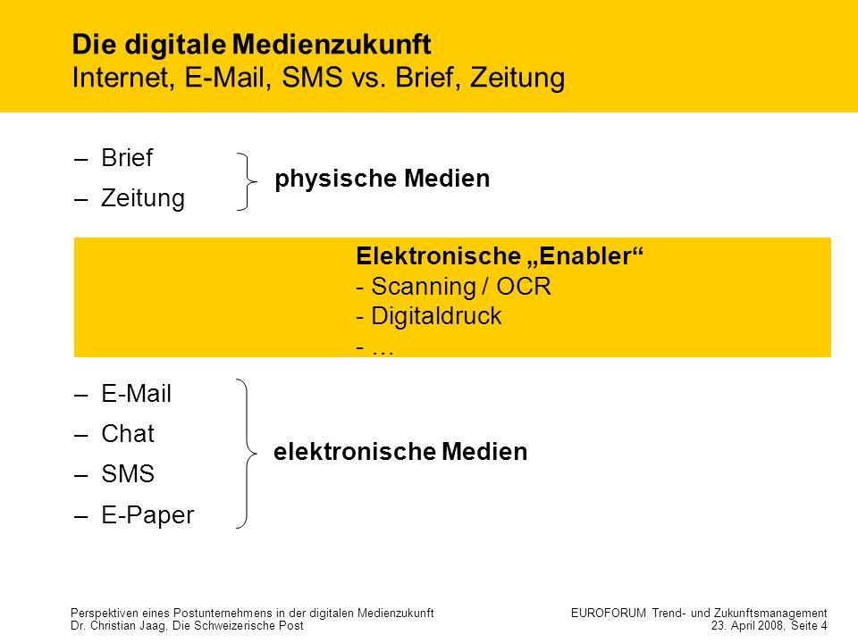 Die digitale Medienzukunft Internet, E-Mail, SMS vs. Brief, Zeitung