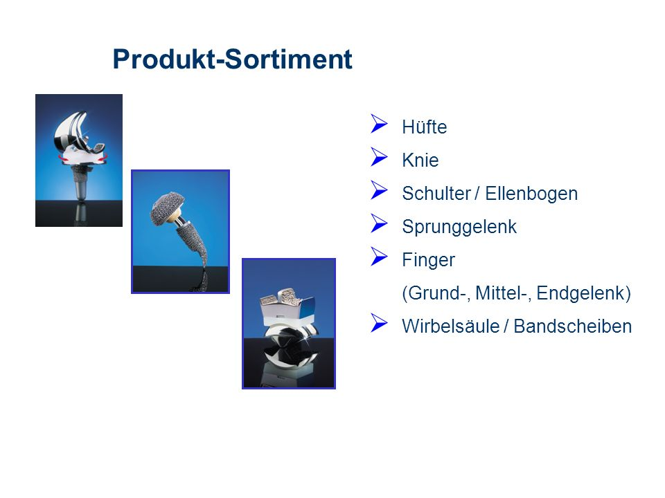 Produkt-Sortiment Hüfte Knie Schulter / Ellenbogen Sprunggelenk
