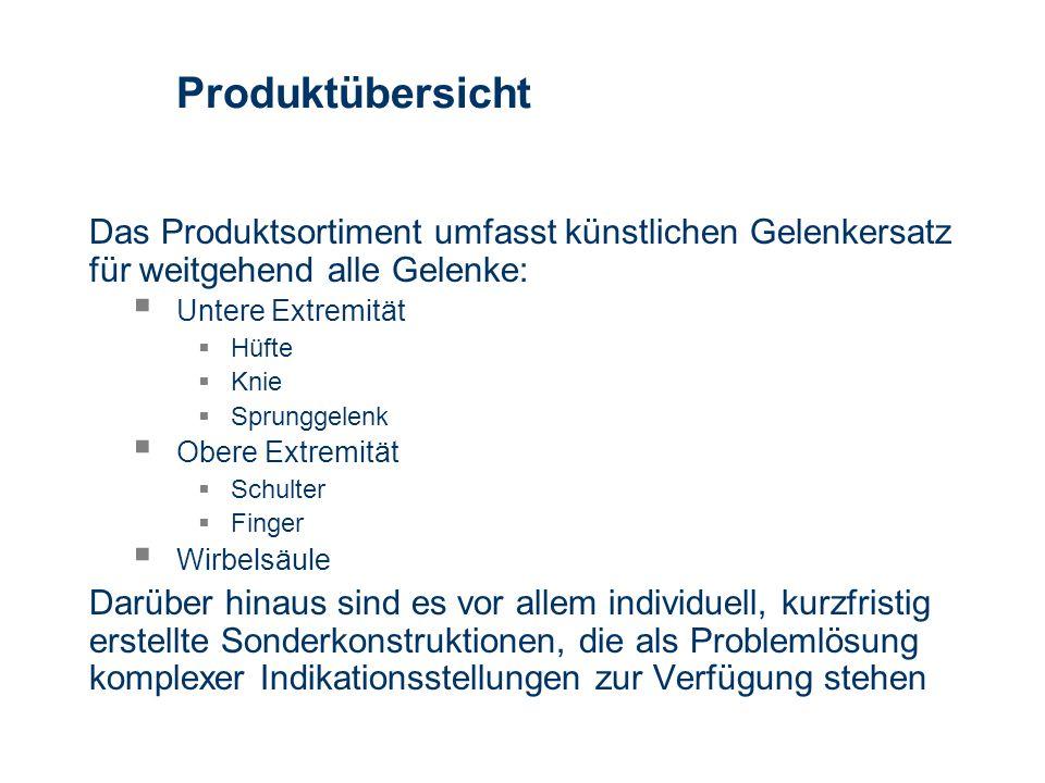 Produktübersicht Das Produktsortiment umfasst künstlichen Gelenkersatz für weitgehend alle Gelenke: