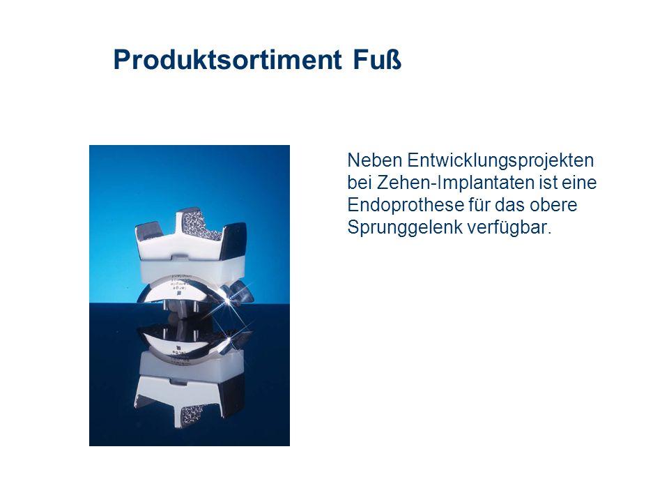 Produktsortiment Fuß Neben Entwicklungsprojekten bei Zehen-Implantaten ist eine Endoprothese für das obere Sprunggelenk verfügbar.