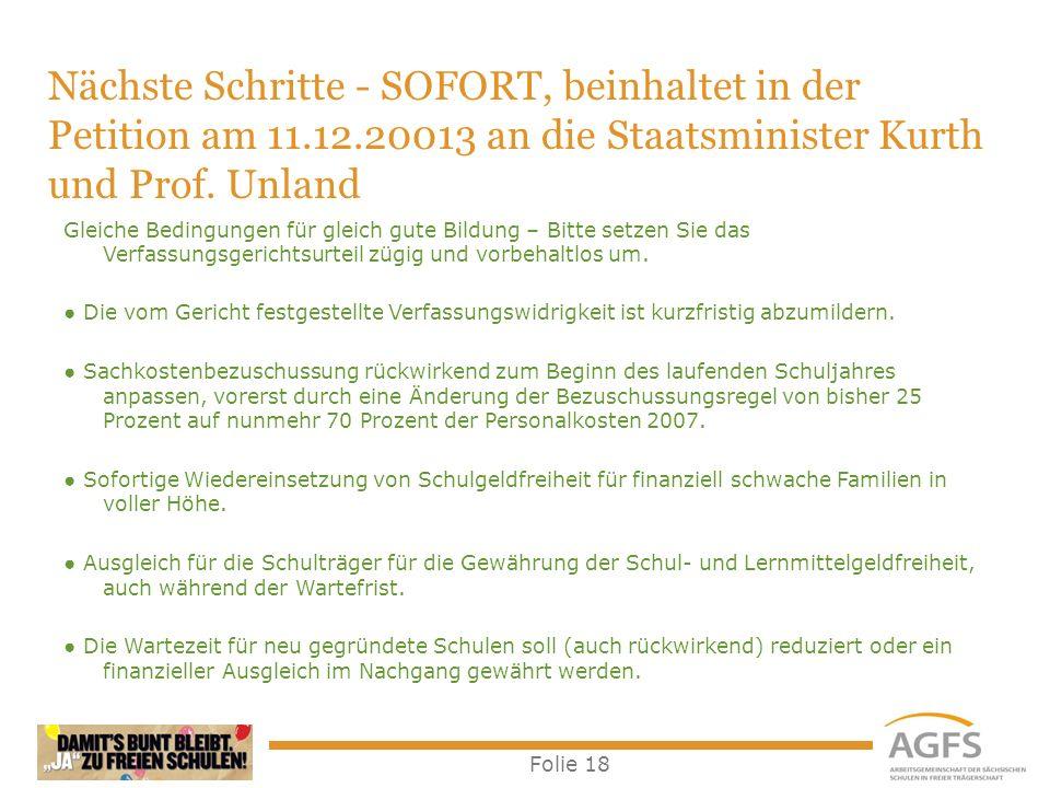 Nächste Schritte - SOFORT, beinhaltet in der Petition am 11. 12