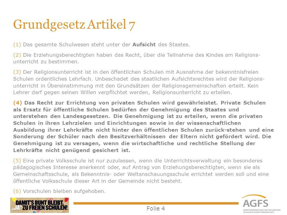 Grundgesetz Artikel 7 Das gesamte Schulwesen steht unter der Aufsicht des Staates.