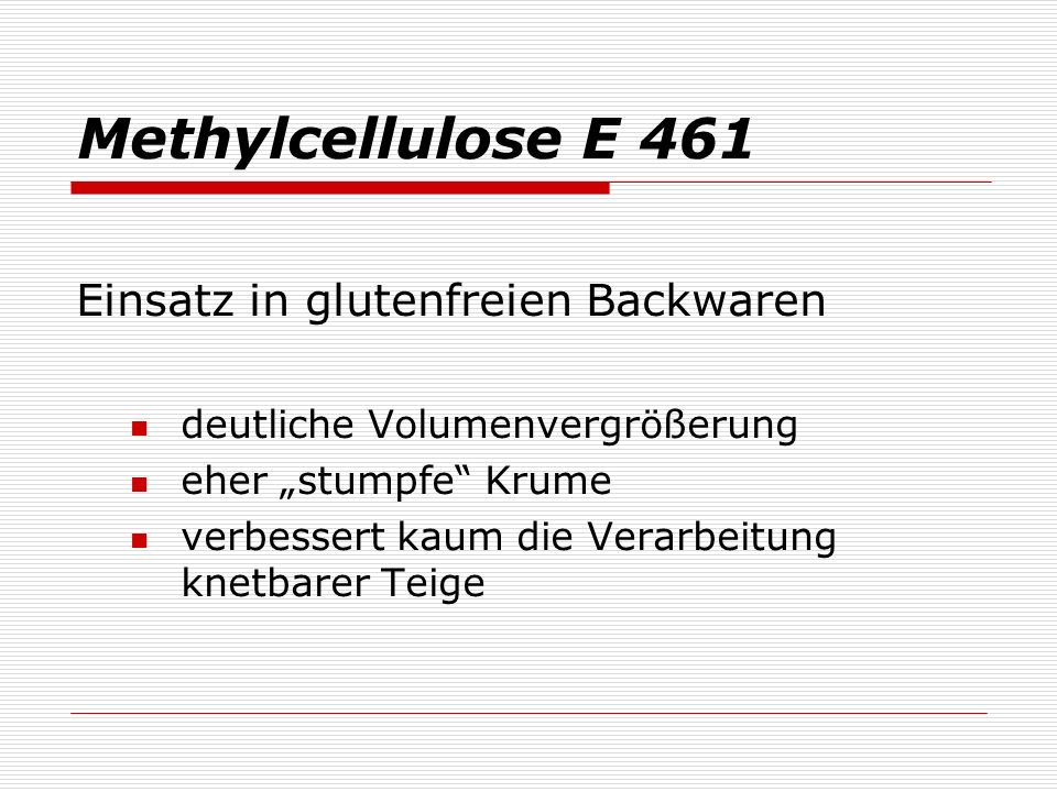 Methylcellulose E 461 Einsatz in glutenfreien Backwaren