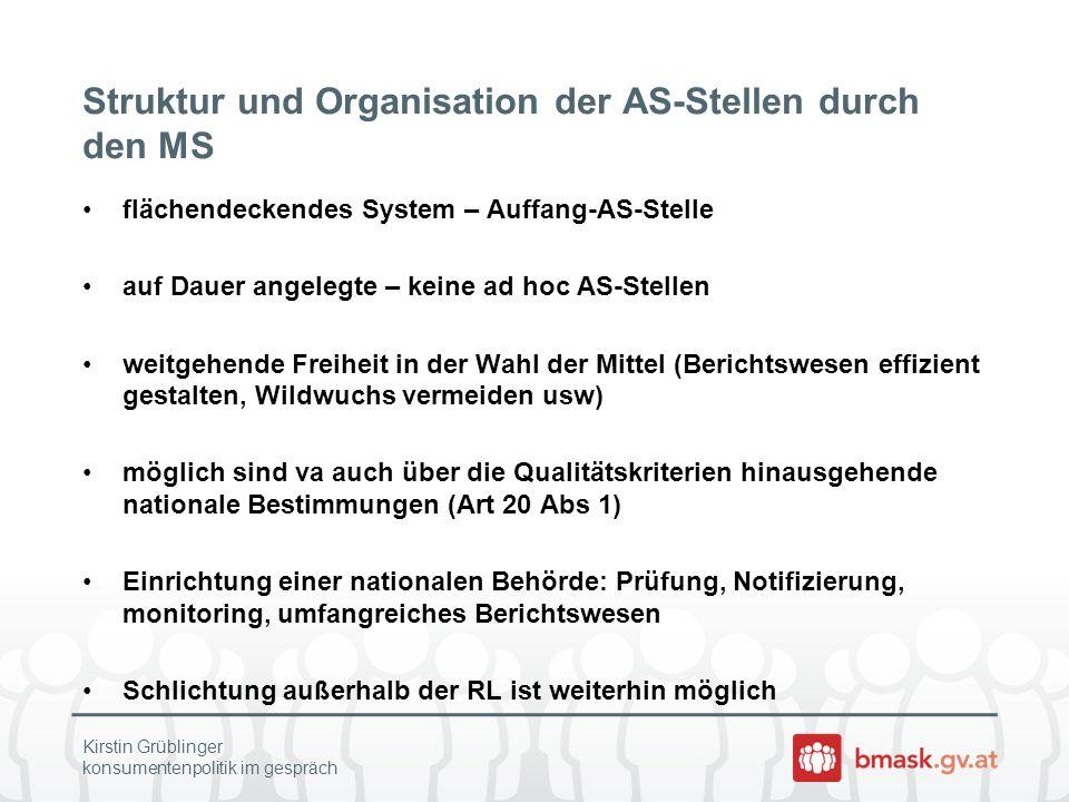 Struktur und Organisation der AS-Stellen durch den MS