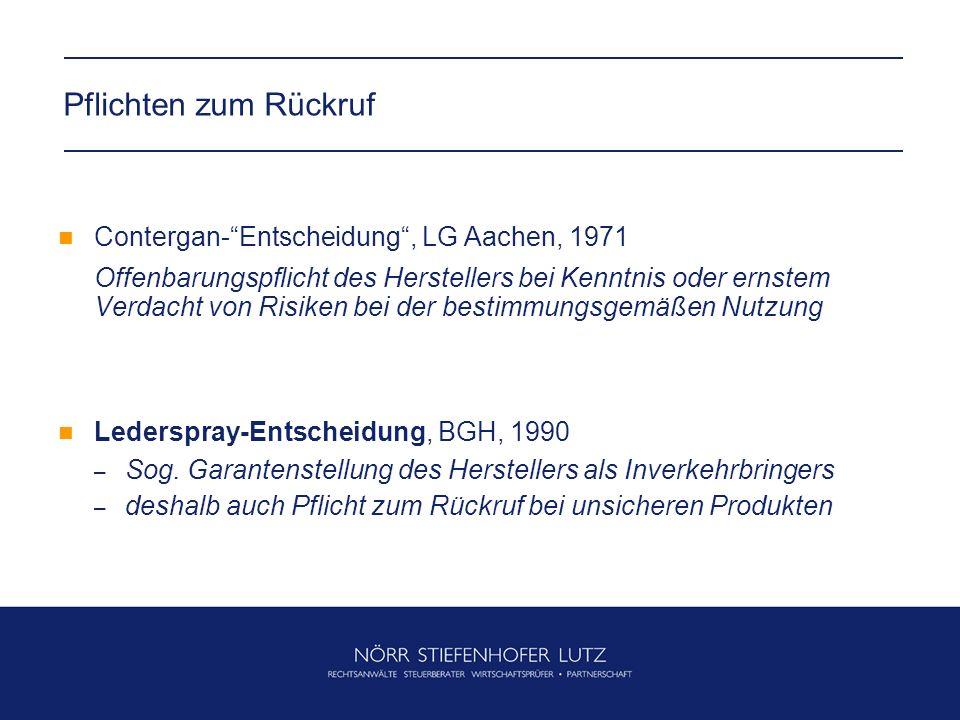 Pflichten zum Rückruf Contergan- Entscheidung , LG Aachen, 1971