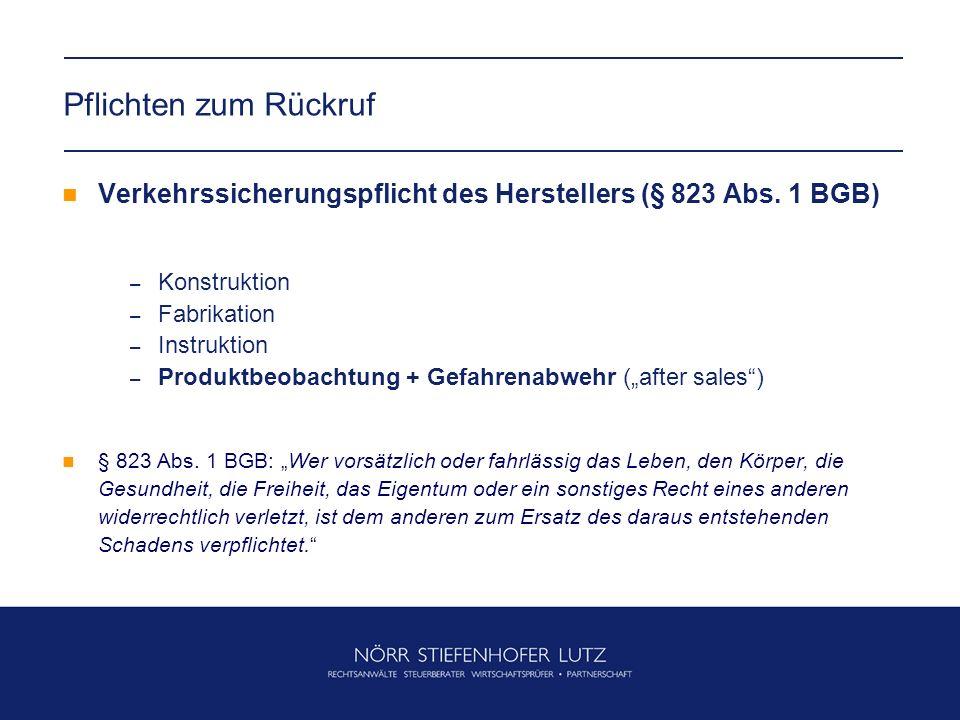 Pflichten zum Rückruf Verkehrssicherungspflicht des Herstellers (§ 823 Abs. 1 BGB) Konstruktion. Fabrikation.