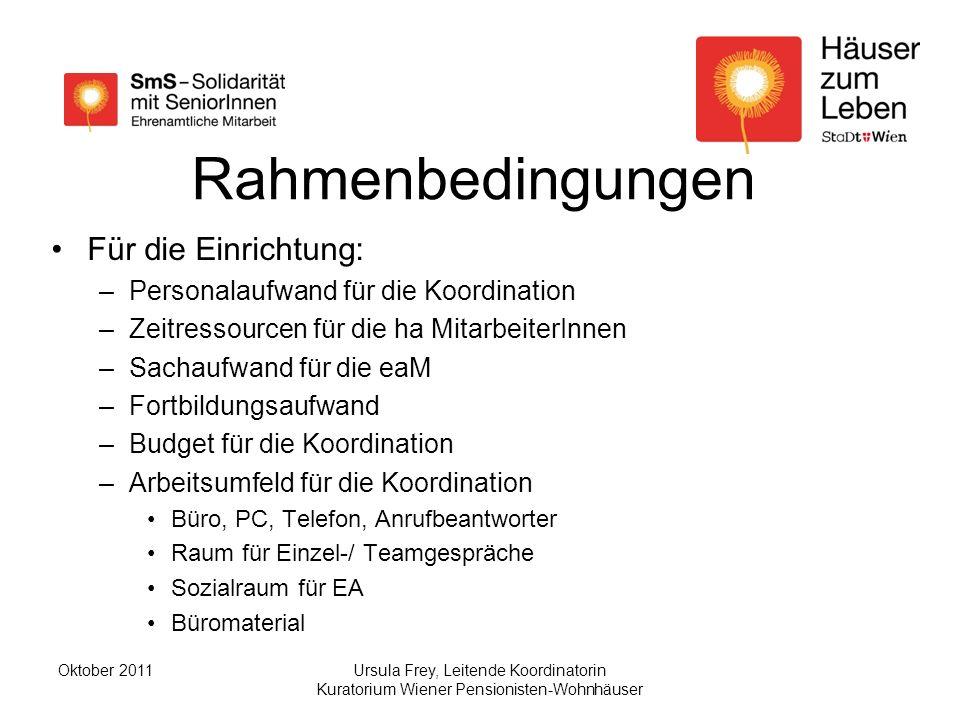 Rahmenbedingungen Für die Einrichtung: