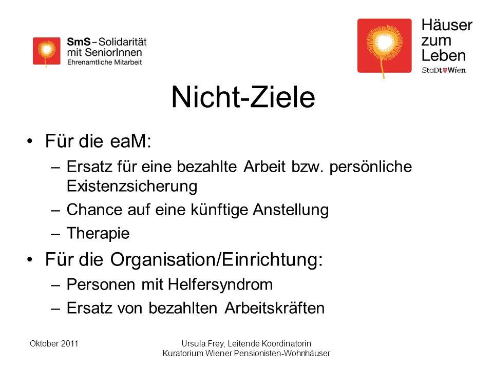 Nicht-Ziele Für die eaM: Für die Organisation/Einrichtung: