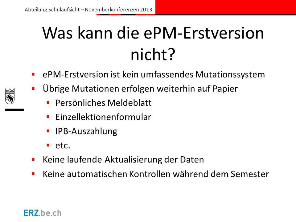 Was kann die ePM-Erstversion nicht