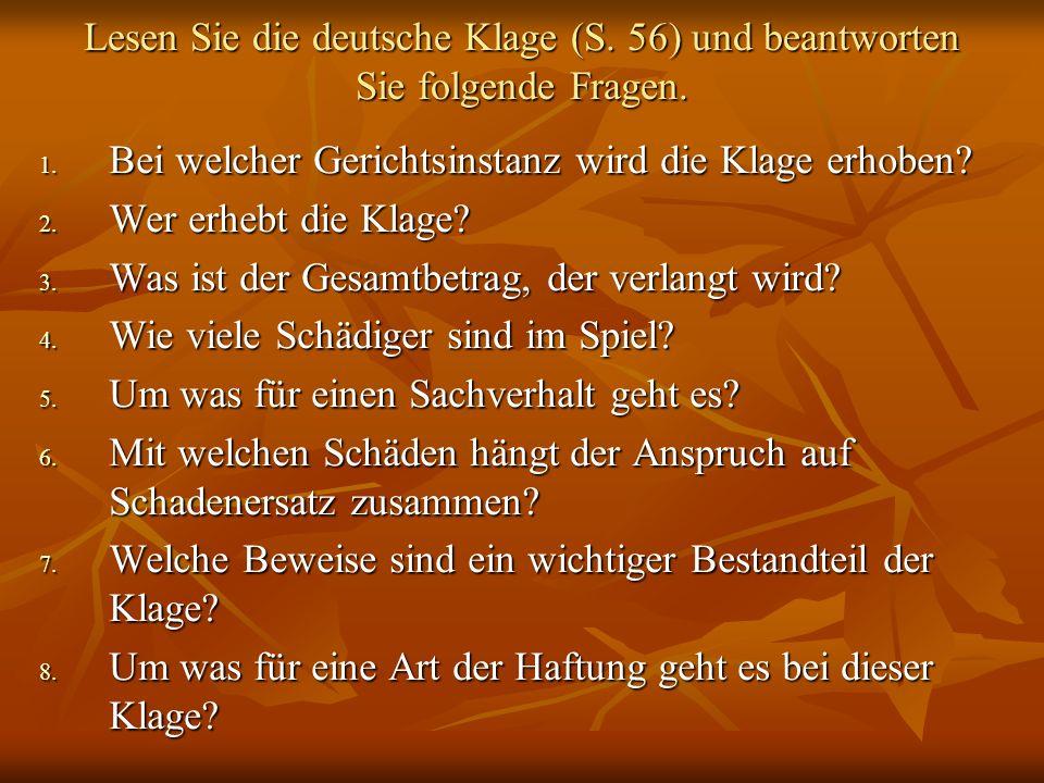 Lesen Sie die deutsche Klage (S