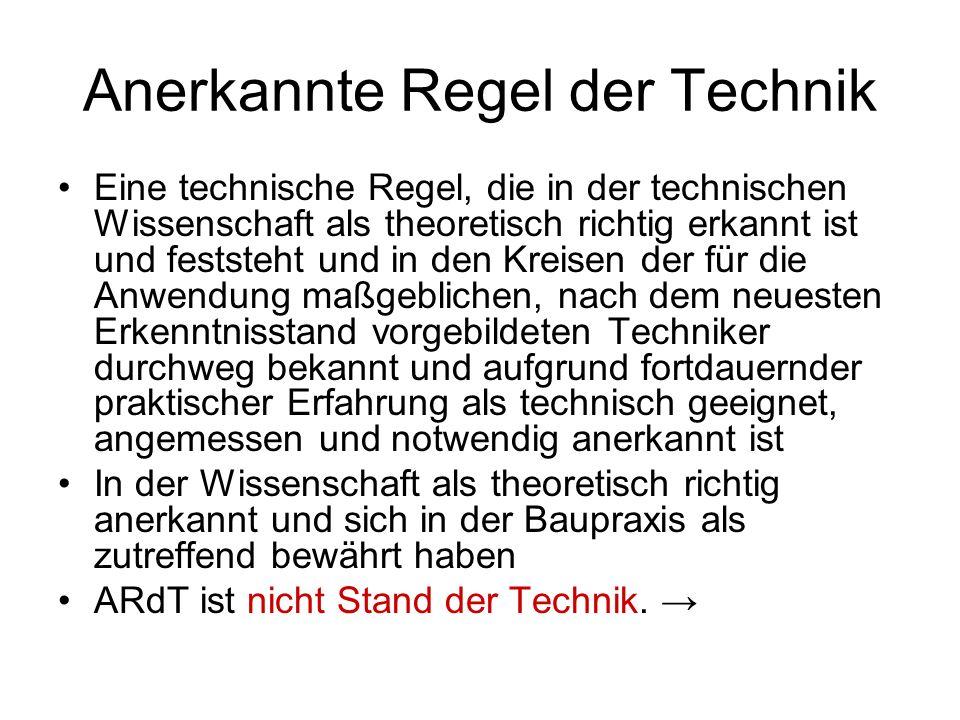 Anerkannte Regel der Technik