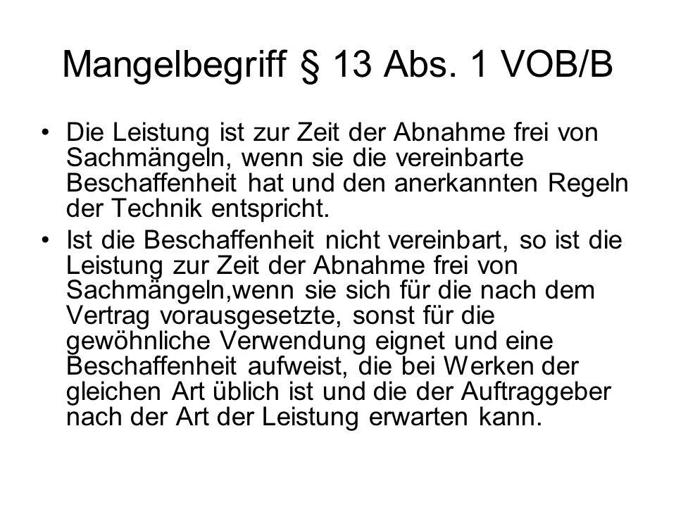 Mangelbegriff § 13 Abs. 1 VOB/B