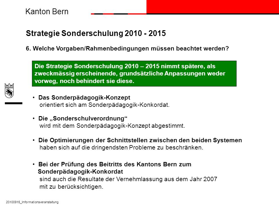 Strategie Sonderschulung 2010 - 2015