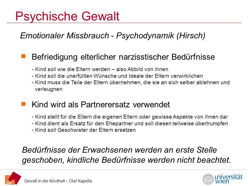 Psychische Gewalt Emotionaler Missbrauch - Psychodynamik (Hirsch)