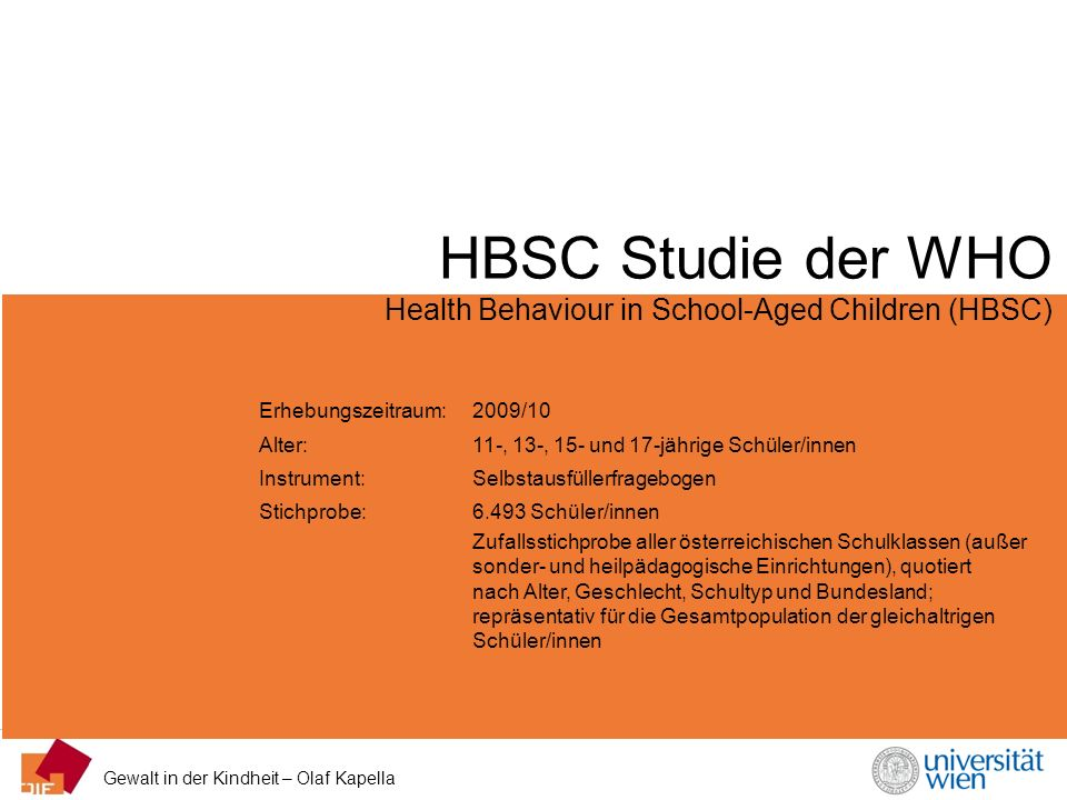 HBSC Studie der WHO Health Behaviour in School-Aged Children (HBSC)