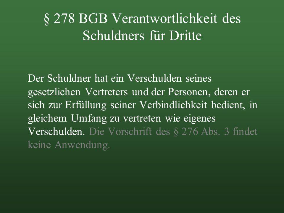 § 278 BGB Verantwortlichkeit des Schuldners für Dritte