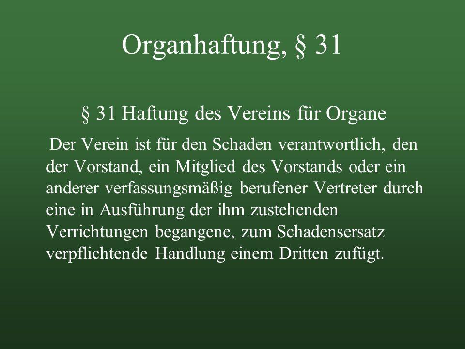 § 31 Haftung des Vereins für Organe