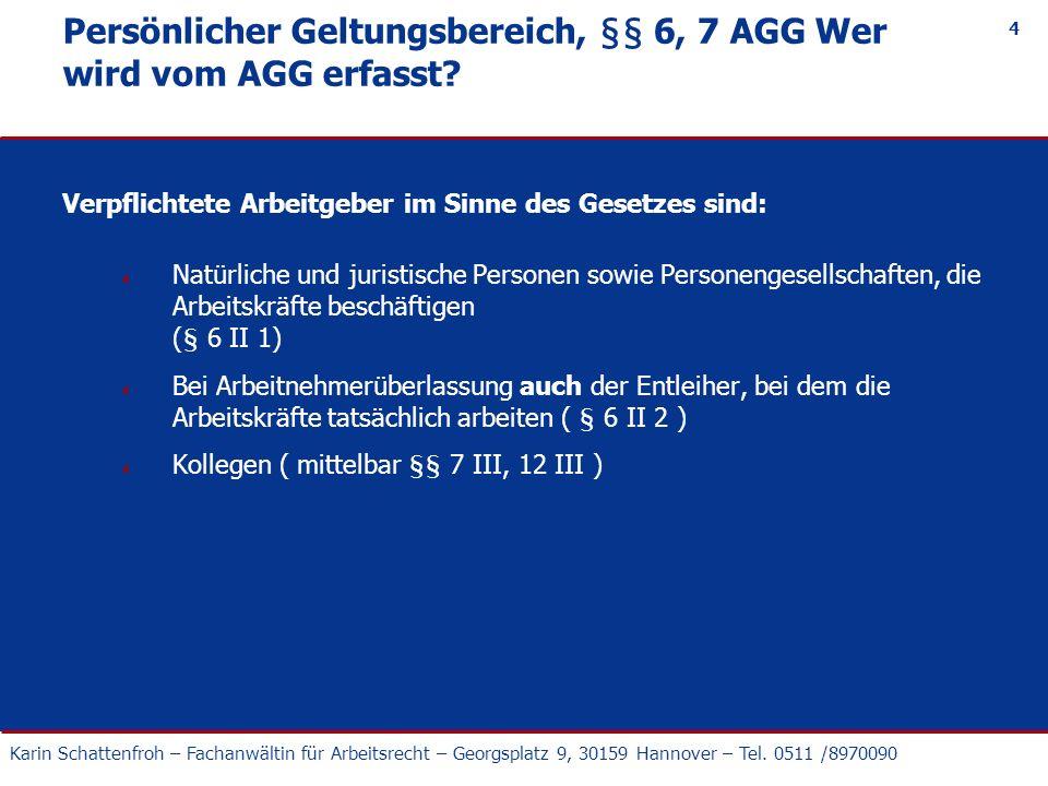 Persönlicher Geltungsbereich, §§ 6, 7 AGG Wer wird vom AGG erfasst