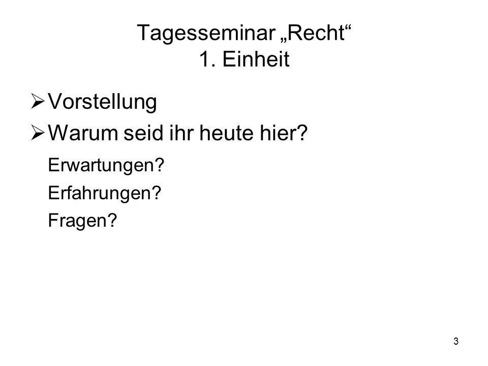 """Tagesseminar """"Recht 1. Einheit"""