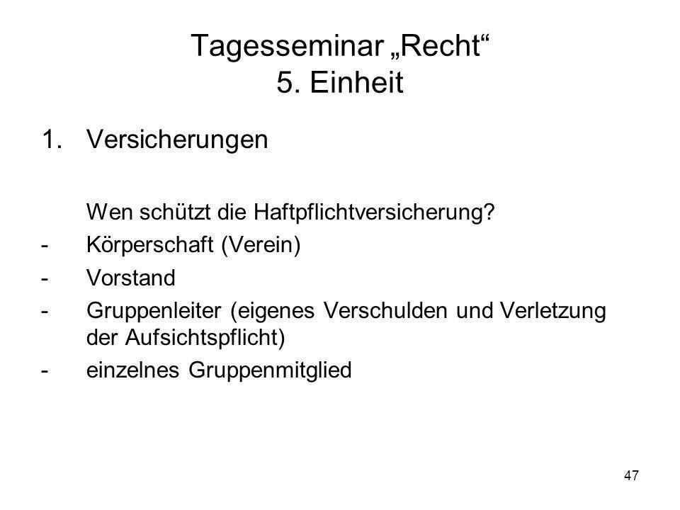 """Tagesseminar """"Recht 5. Einheit"""
