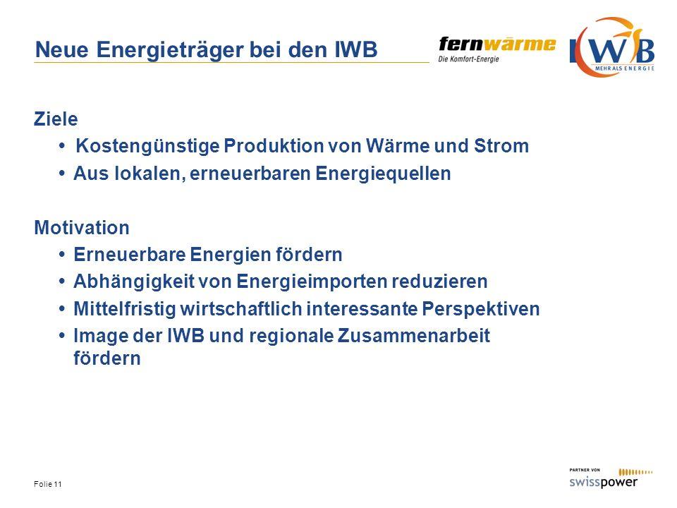 Neue Energieträger bei den IWB