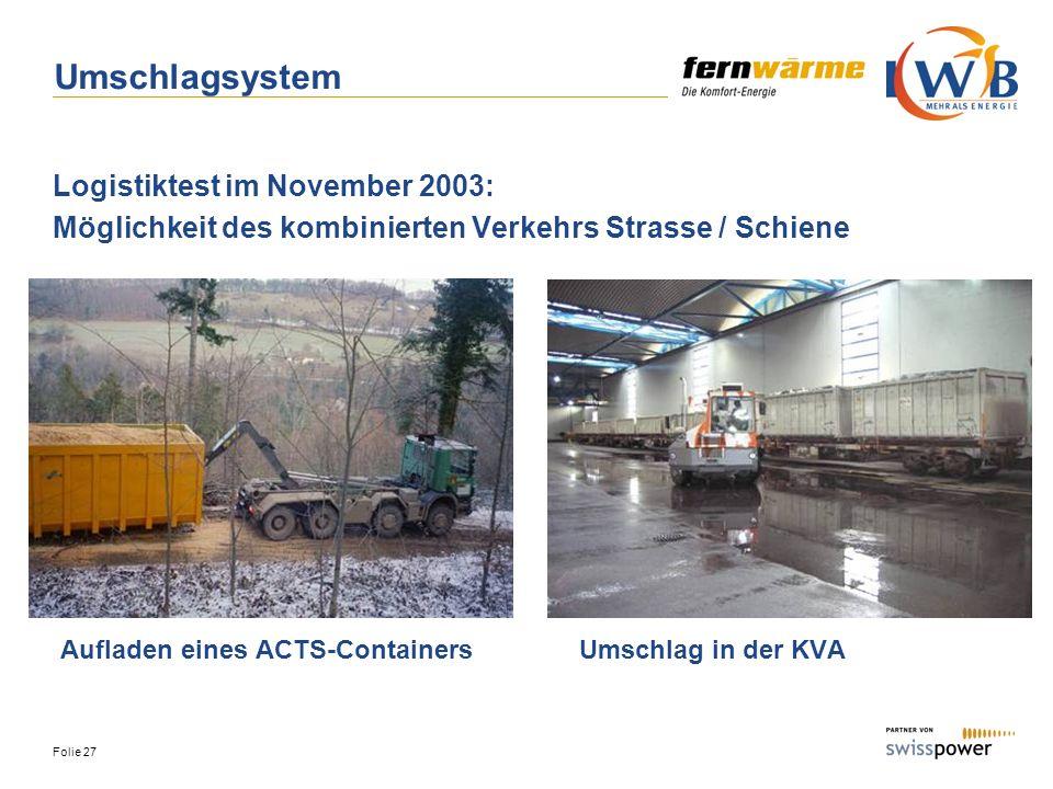 Umschlagsystem Logistiktest im November 2003: